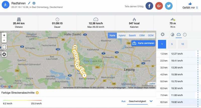 Route Teil 2 Bad Dürrenberg nach Halle