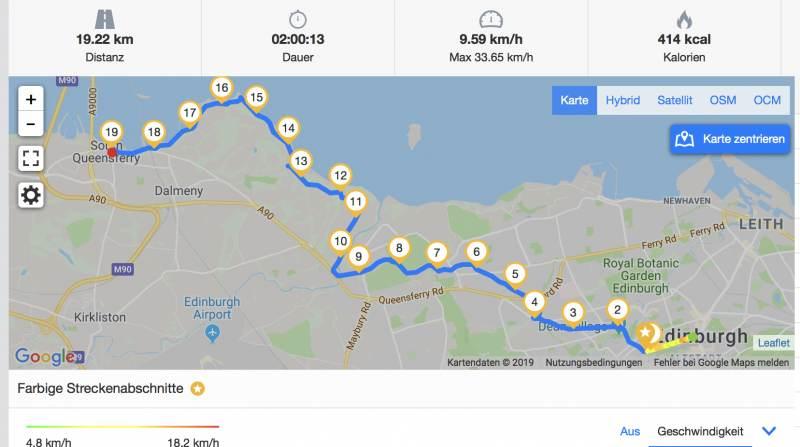 Die Route von Edinburgh nach South Queensferry