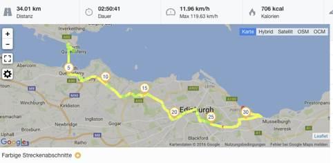 Die abwechslungsreiche Strecke führt am Ende mitten durch Edinburgh.