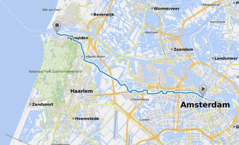 Route zum Fährhafen Ijmuiden — schön zu radeln!