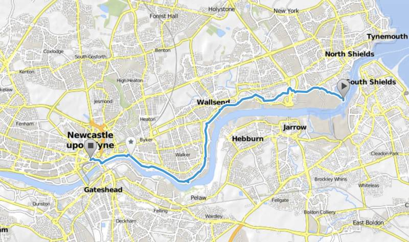 Die Route vom Fähranleger nach Newcastle