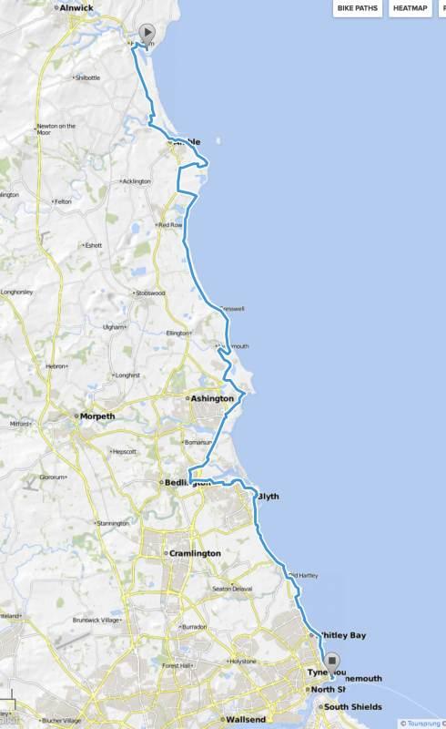 64 flache Kilometer von Alnmouth nach Tynemouth