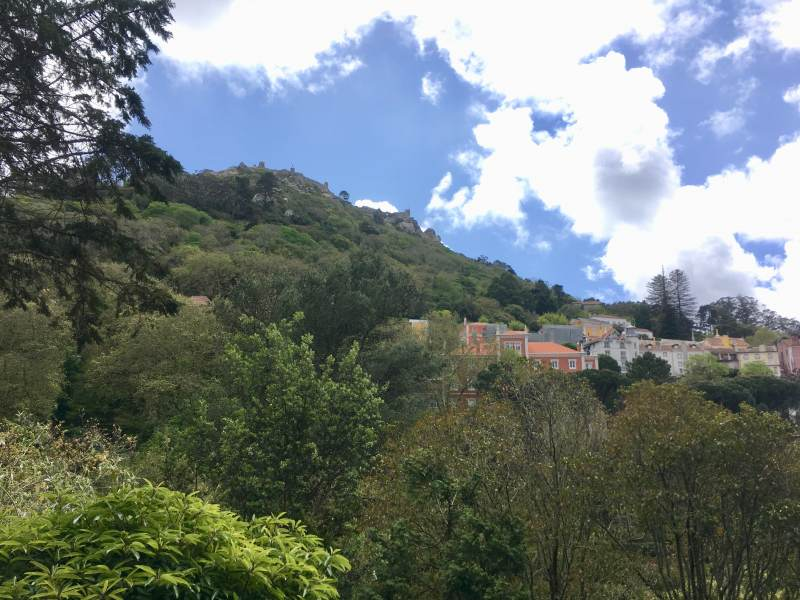 Blick hinauf zur Burg in Sintra