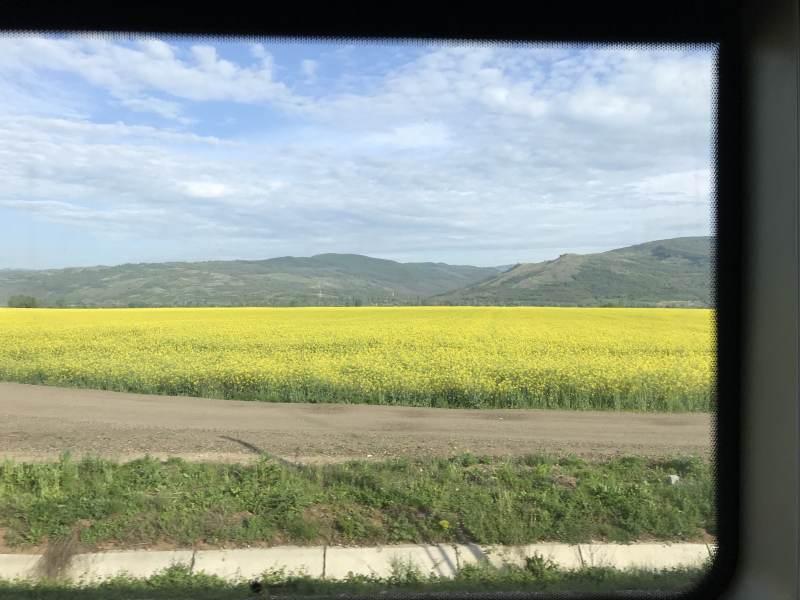 bei entschleunigter Fahrt durch viel Landschaft